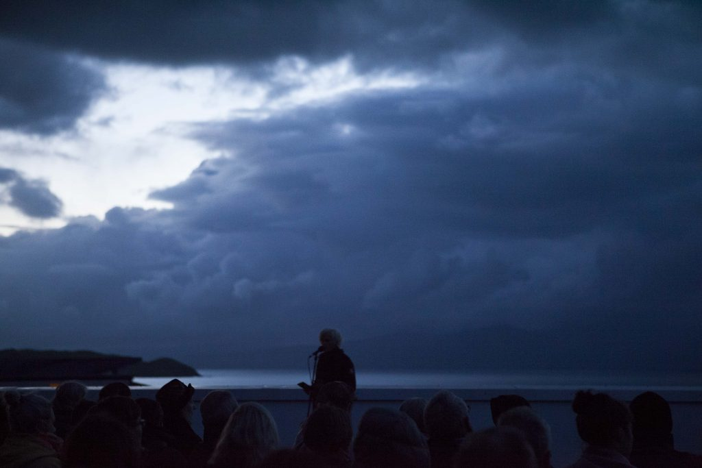 ATLAS ARTS present – Ragadawn (Isle of Skye, 57.5º N) with Caroline Bergvall at Sabhal Mòr Ostaig, Isle of Skye, 25th August 5:15am.Ragadawn, a sunrise vocal performance performed outdoors from the last hours of night until the very early morning. R