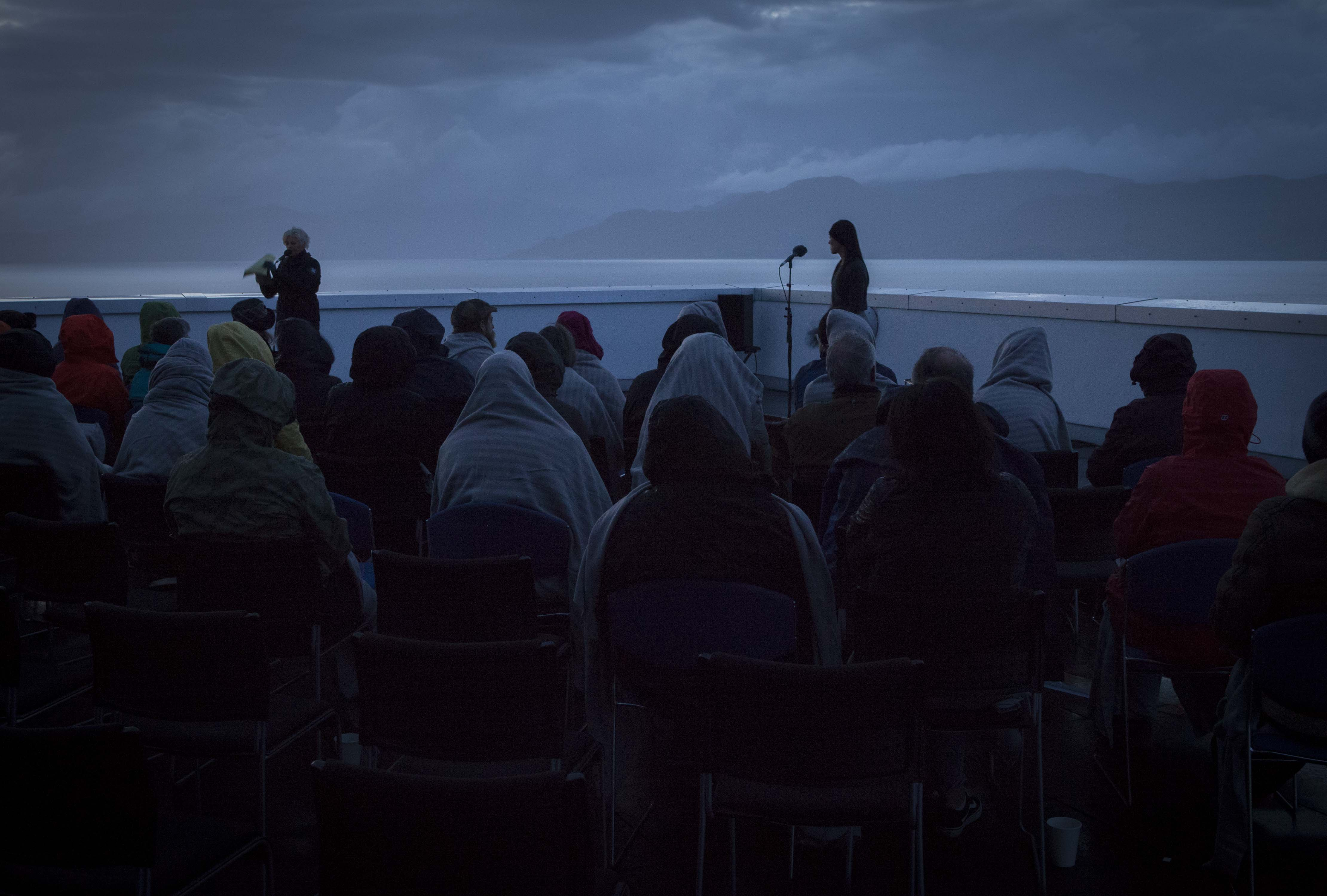 ATLAS ARTS present – Ragadawn (Isle of Skye, 57.5º N) with Caroline Bergvall at Sabhal Mòr Ostaig, Isle of Skye, 25th August 5:15am.Ragadawn, a sunrise vocalperformance performed outdoors from thelast hours of night until the very early morning. R